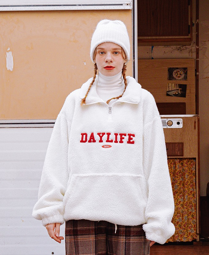 DAYLIFE FLEECE ANORAK JACKET (IVORY)