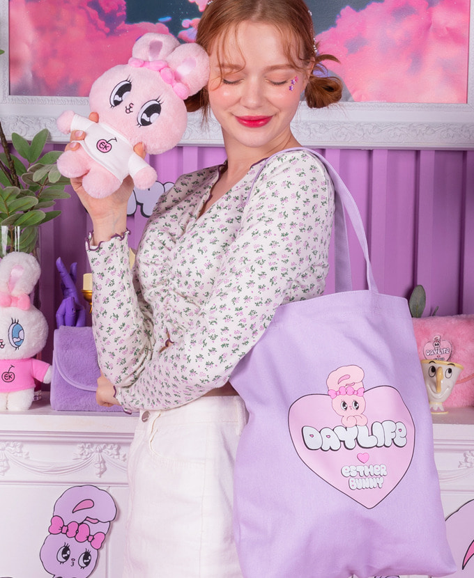 ★NEW COLLABORATION★デイライフ♥エスダバニー BIG HEART ECO BAG(PURPLE)_謝恩品贈呈💝