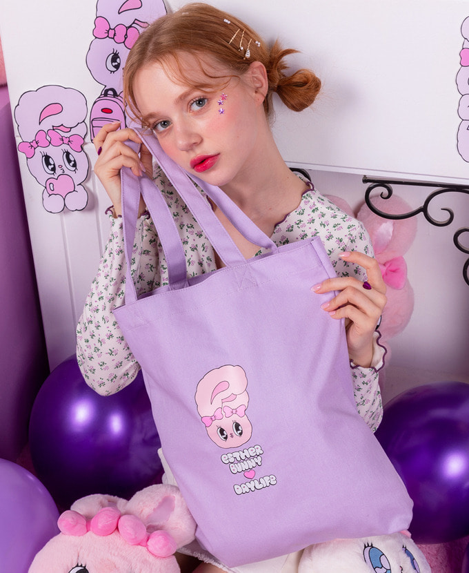 ★NEW COLLABORATION★デイライフ♥エスダバニー LETTERING ECO BAG(PURPLE)_謝恩品贈呈💝