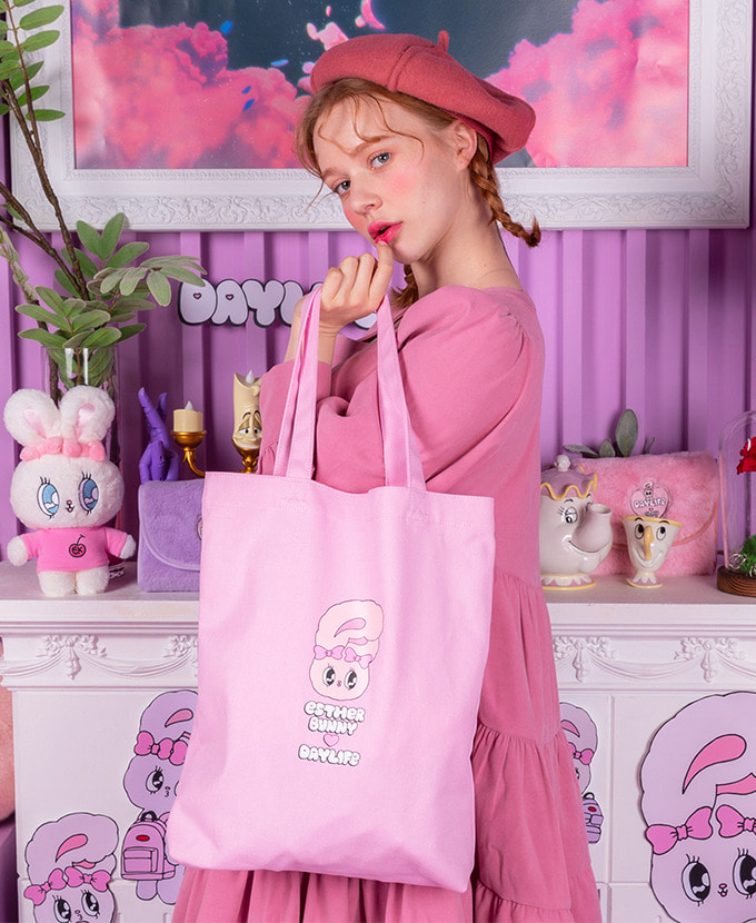 ★NEW COLLABORATION★デイライフ♥エスダバニー LETTERING ECO BAG(PINK)_謝恩品贈呈💝