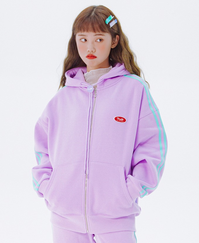 DAYLIFE LINE HOODIE ZIP-UP (PURPLE)