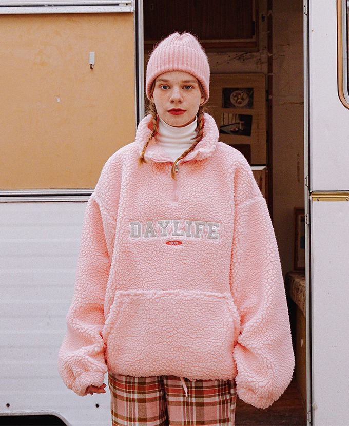 DAYLIFE FLEECE ANORAK JACKET (PINK)