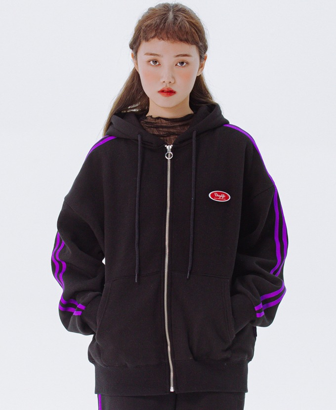 DAYLIFE LINE HOODIE ZIP-UP (BLACK)