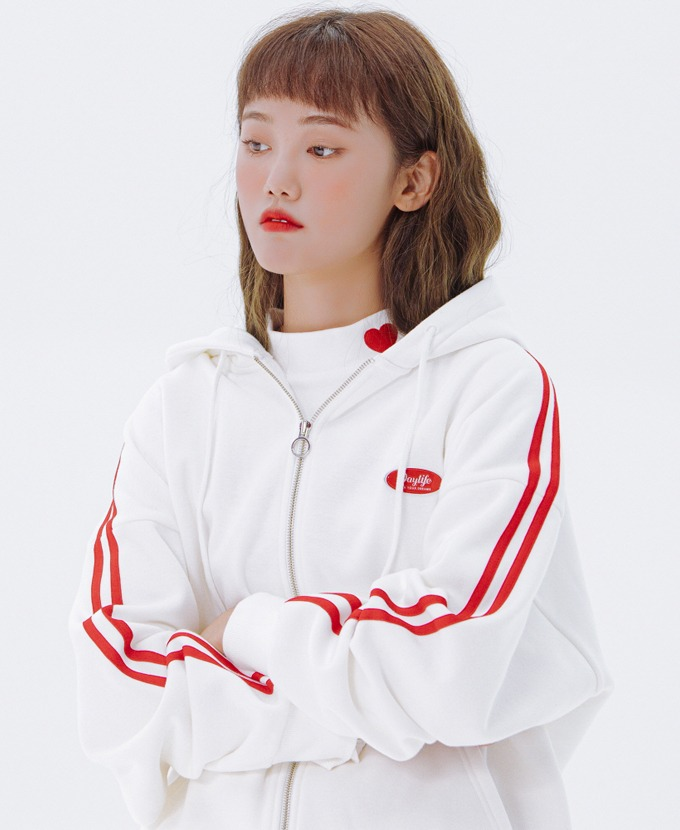 DAYLIFE LINE HOODIE ZIP-UP (WHITE)