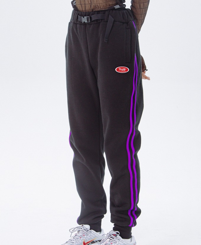 DAYLIFE LINE SWEAT PANTS (BLACK)