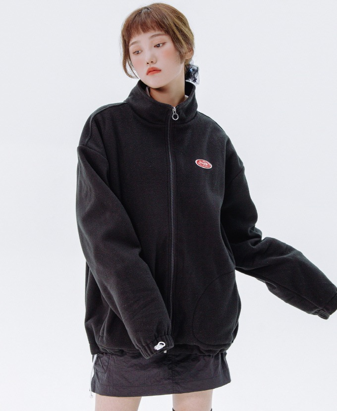 DAYLIFE FLEECE HIGH NECK ZIP-UP (BLACK)