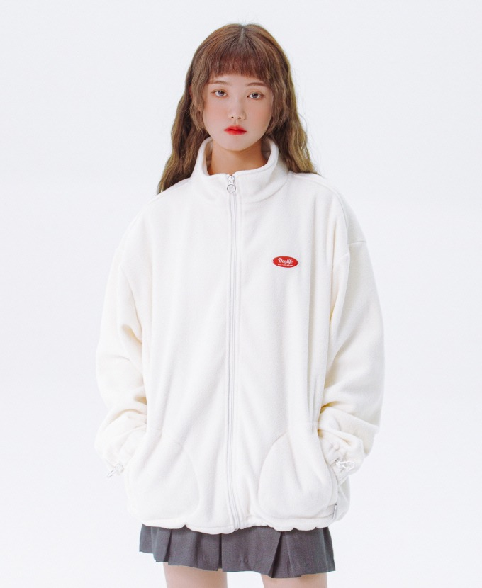 DAYLIFE FLEECE HIGH NECK ZIP-UP (WHITE)
