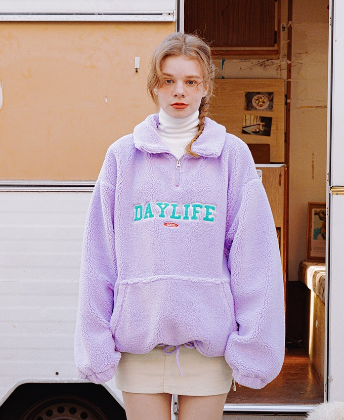DAYLIFE FLEECE ANORAK JACKET (PURPLE)